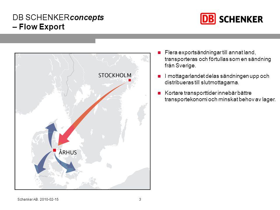DB SCHENKERconcepts – Flow Export  Flera exportsändningar till annat land, transporteras och förtullas som en sändning från Sverige.  I mottagarland