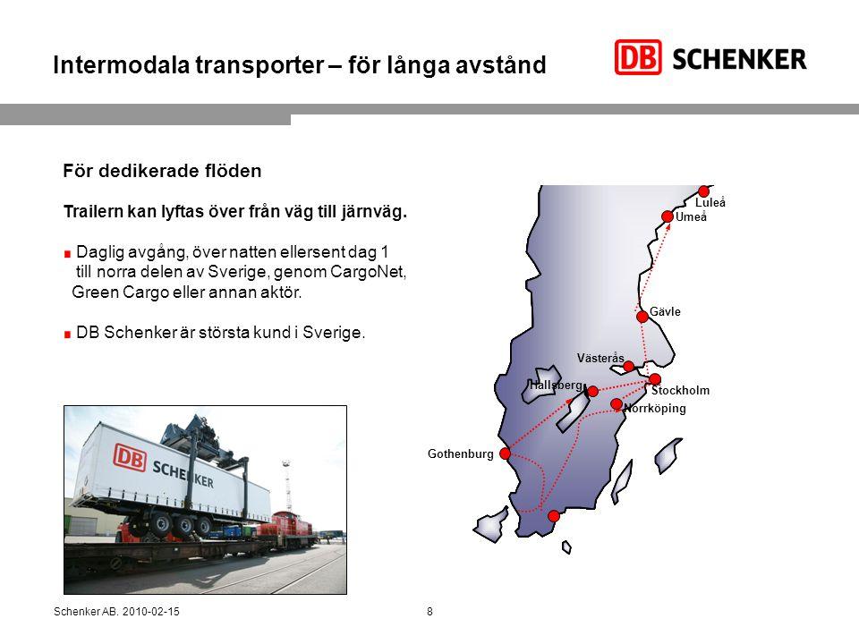 Intermodala transporter – för långa avstånd Schenker AB. 2010-02-15 För dedikerade flöden Trailern kan lyftas över från väg till järnväg. Daglig avgån