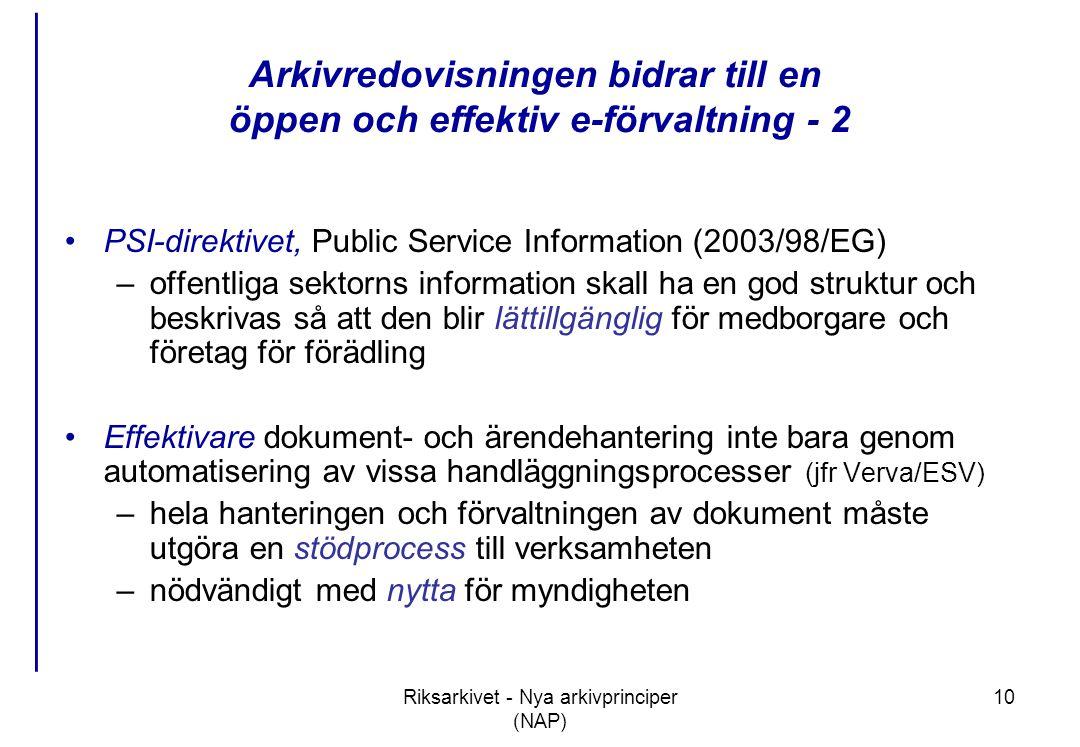 Riksarkivet - Nya arkivprinciper (NAP) 10 Arkivredovisningen bidrar till en öppen och effektiv e-förvaltning - 2 •PSI-direktivet, Public Service Information (2003/98/EG) –offentliga sektorns information skall ha en god struktur och beskrivas så att den blir lättillgänglig för medborgare och företag för förädling •Effektivare dokument- och ärendehantering inte bara genom automatisering av vissa handläggningsprocesser (jfr Verva/ESV) –hela hanteringen och förvaltningen av dokument måste utgöra en stödprocess till verksamheten –nödvändigt med nytta för myndigheten