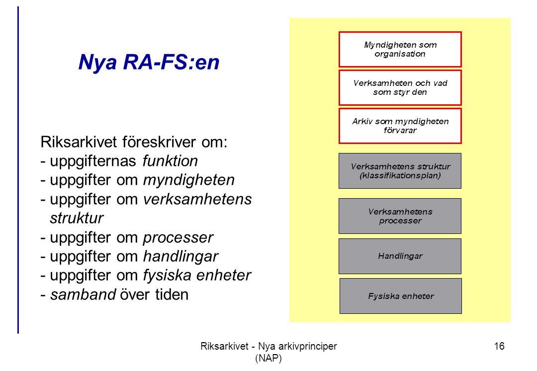 Riksarkivet - Nya arkivprinciper (NAP) 16 Nya RA-FS:en Riksarkivet föreskriver om: - uppgifternas funktion - uppgifter om myndigheten - uppgifter om verksamhetens struktur - uppgifter om processer - uppgifter om handlingar - uppgifter om fysiska enheter - samband över tiden
