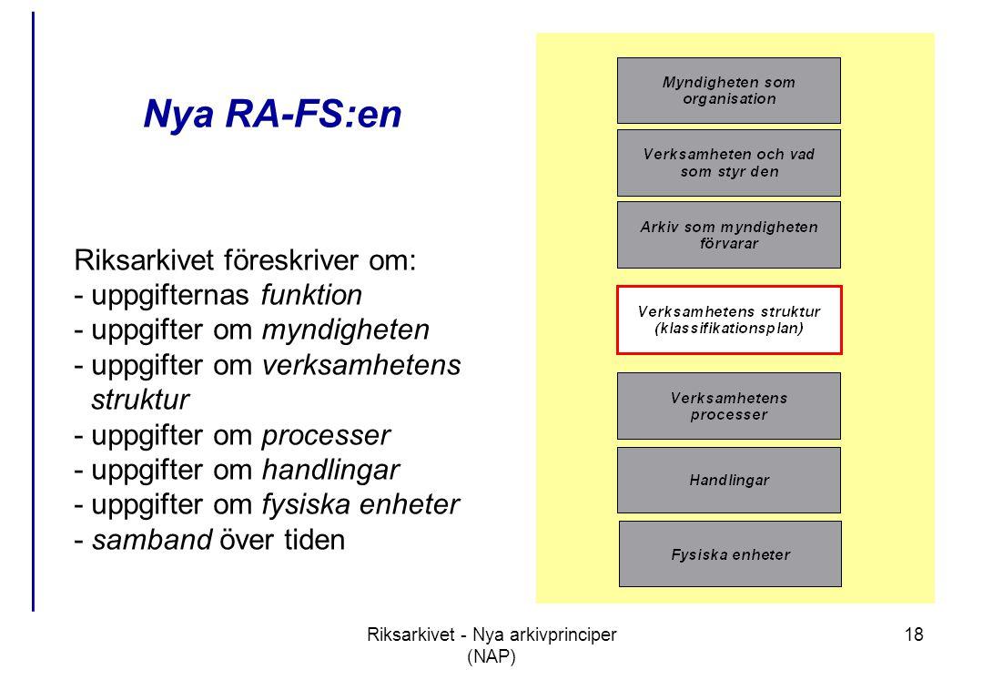 Riksarkivet - Nya arkivprinciper (NAP) 18 Nya RA-FS:en Riksarkivet föreskriver om: - uppgifternas funktion - uppgifter om myndigheten - uppgifter om verksamhetens struktur - uppgifter om processer - uppgifter om handlingar - uppgifter om fysiska enheter - samband över tiden