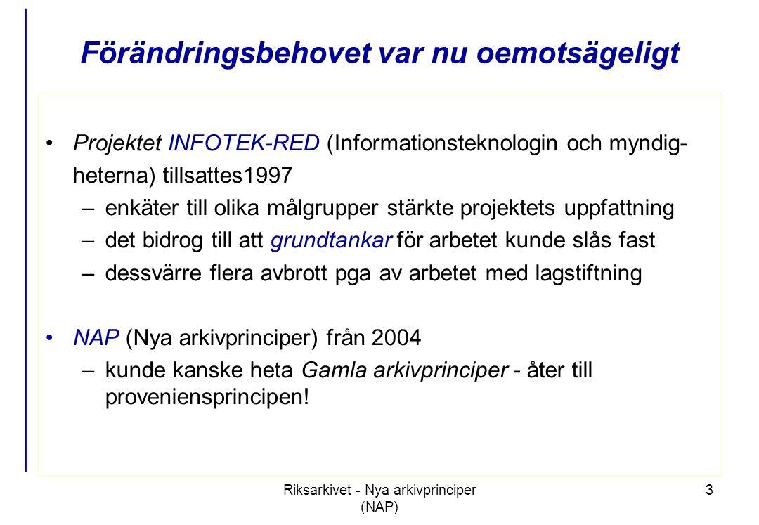 Riksarkivet - Nya arkivprinciper (NAP) 3 Förändringsbehovet var nu oemotsägeligt •Projektet INFOTEK-RED (Informationsteknologin och myndig- heterna) tillsattes1997 –enkäter till olika målgrupper stärkte projektets uppfattning –det bidrog till att grundtankar för arbetet kunde slås fast –dessvärre flera avbrott pga av arbetet med lagstiftning •NAP (Nya arkivprinciper) från 2004 –kunde kanske heta Gamla arkivprinciper - åter till proveniensprincipen!