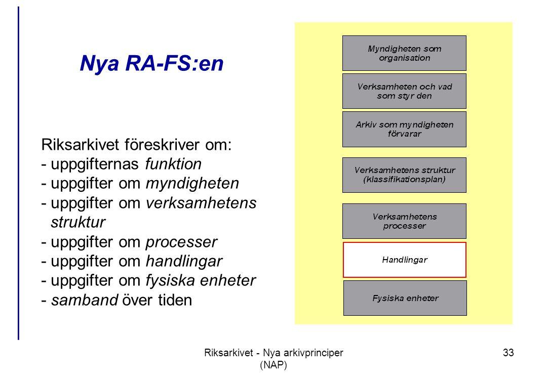 Riksarkivet - Nya arkivprinciper (NAP) 33 Nya RA-FS:en Riksarkivet föreskriver om: - uppgifternas funktion - uppgifter om myndigheten - uppgifter om verksamhetens struktur - uppgifter om processer - uppgifter om handlingar - uppgifter om fysiska enheter - samband över tiden