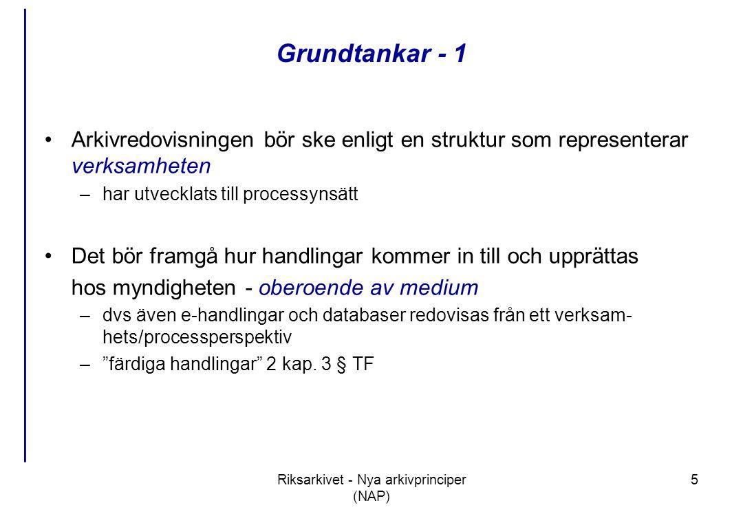 Riksarkivet - Nya arkivprinciper (NAP) 26 Man kan reda ut begrepp
