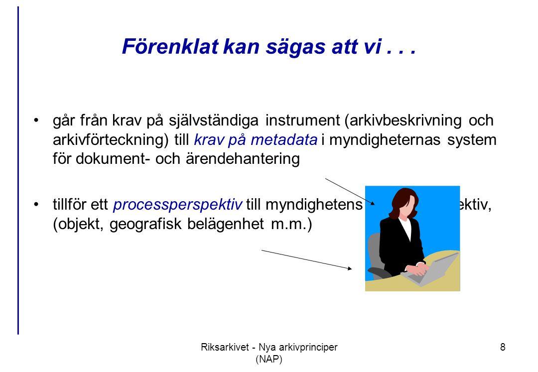 Riksarkivet - Nya arkivprinciper (NAP) 9 Arkivredovisningen bidrar till en öppen och effektiv e-förvaltning - 1 •Offentlighetsprincipen –möjliggör självbetjäning; handlingarnas ursprung i verksamheten tydliggörs; om man vet vad myndigheten gör kan man leta sig fram till handlingarna •Transparent och rättsäker handläggning –kompletterar 24-timmarsmyndighetens ett ärende – en kontakt; kan åskådliggöra hur man hämtar/lämnar uppgifter i myndighetsöverskridande handläggningsprocesser