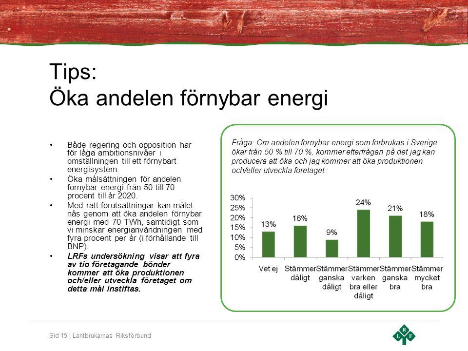 Sid 15 | Lantbrukarnas Riksförbund Tips: Öka andelen förnybar energi •Både regering och opposition har för låga ambitionsnivåer i omställningen till ett förnybart energisystem.