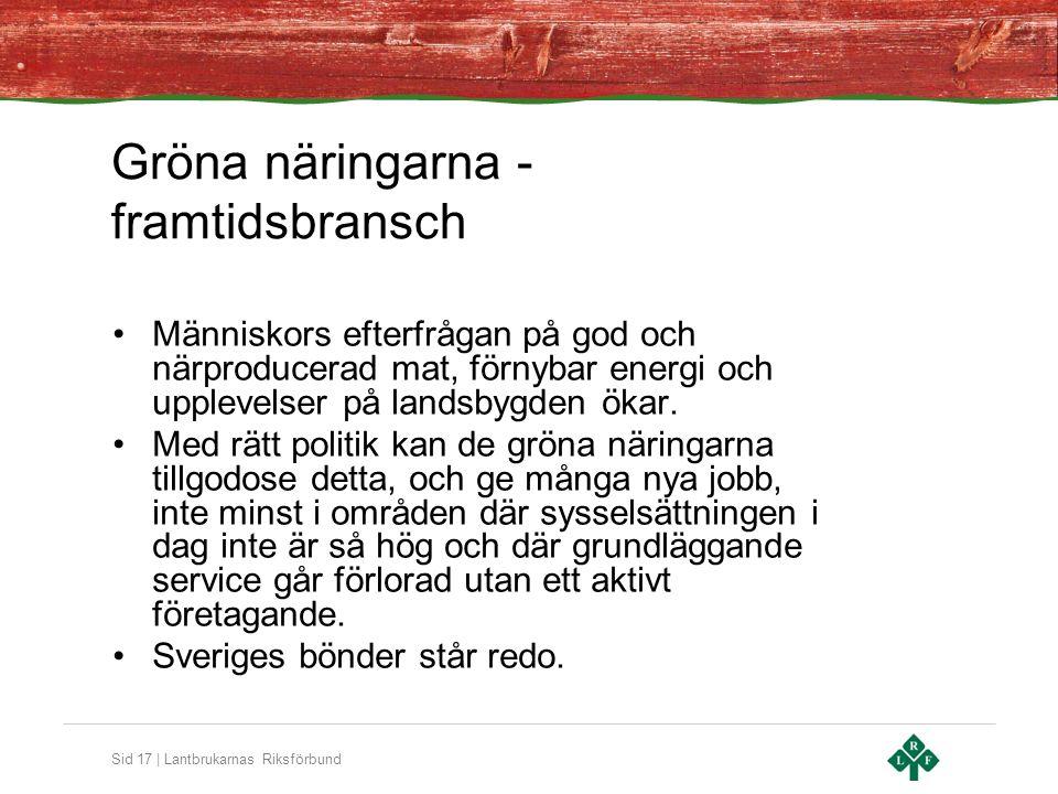 Sid 17 | Lantbrukarnas Riksförbund Gröna näringarna - framtidsbransch •Människors efterfrågan på god och närproducerad mat, förnybar energi och upplevelser på landsbygden ökar.