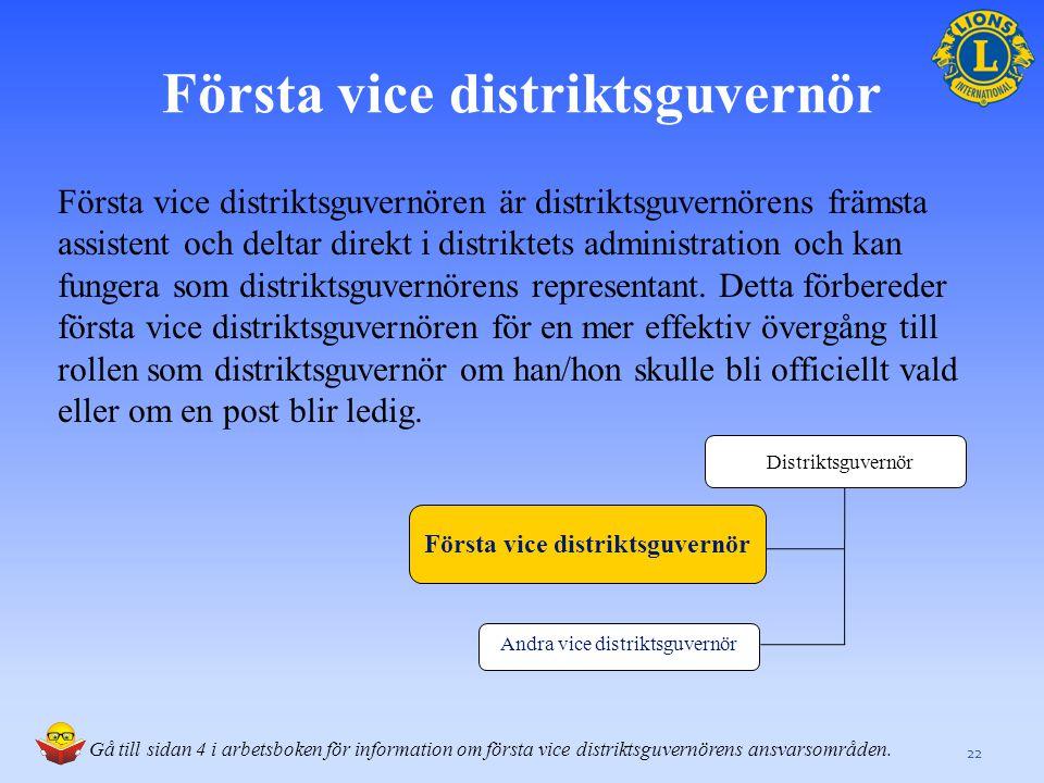 Första vice distriktsguvernör Första vice distriktsguvernören är distriktsguvernörens främsta assistent och deltar direkt i distriktets administration och kan fungera som distriktsguvernörens representant.
