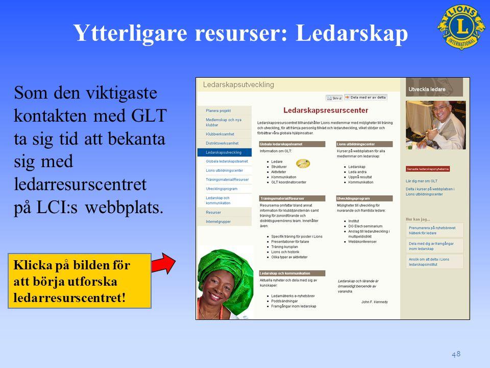 Ytterligare resurser: Ledarskap Som den viktigaste kontakten med GLT ta sig tid att bekanta sig med ledarresurscentret på LCI:s webbplats.