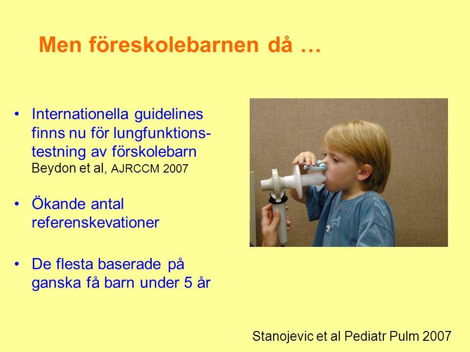 Men föreskolebarnen då … •Internationella guidelines finns nu för lungfunktions- testning av förskolebarn Beydon et al, AJRCCM 2007 •Ökande antal refe