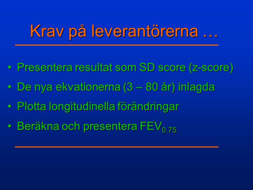 Krav på leverantörerna … •Presentera resultat som SD score (z-score) •De nya ekvationerna (3 – 80 år) inlagda •Plotta longitudinella förändringar •Ber