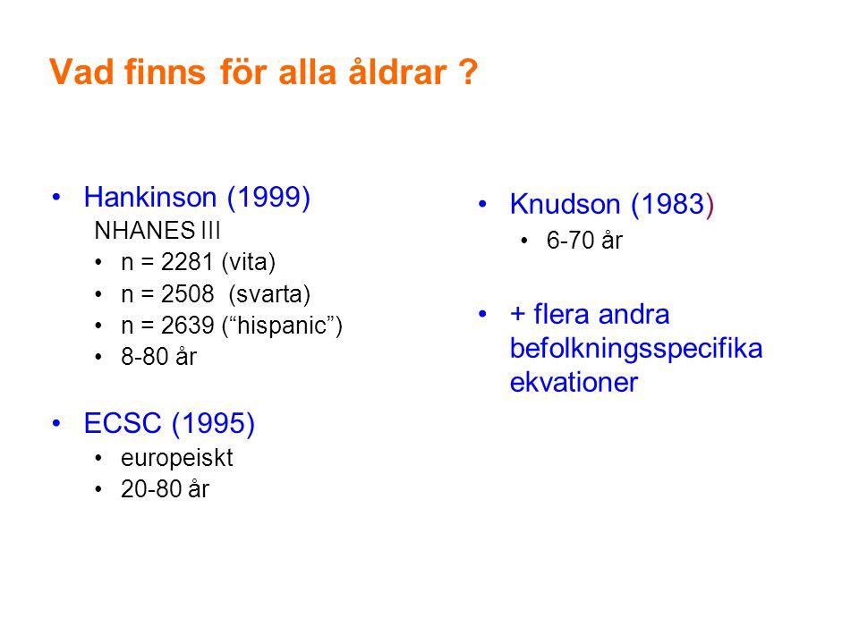 """Vad finns för alla åldrar ? •Hankinson (1999) NHANES III •n = 2281 (vita) •n = 2508 (svarta) •n = 2639 (""""hispanic"""") •8-80 år •ECSC (1995) •europeiskt"""
