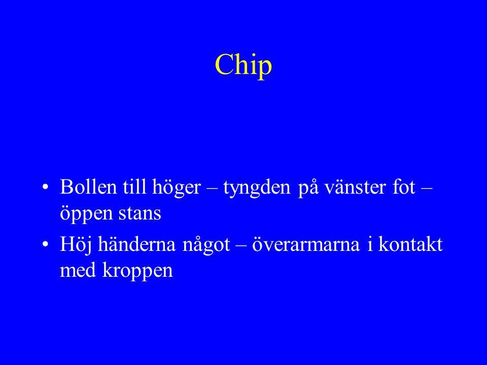Chip •Bollen till höger – tyngden på vänster fot – öppen stans •Höj händerna något – överarmarna i kontakt med kroppen