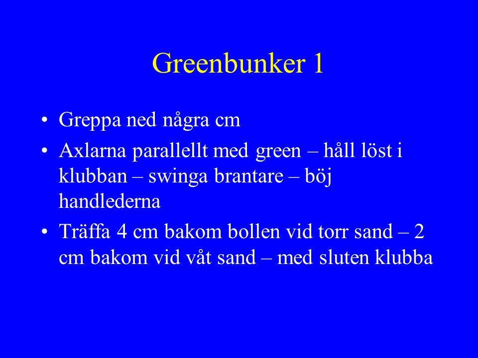 Greenbunker 1 •Greppa ned några cm •Axlarna parallellt med green – håll löst i klubban – swinga brantare – böj handlederna •Träffa 4 cm bakom bollen v