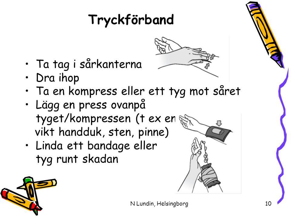 N Lundin, Helsingborg10 Tryckförband •Ta tag i sårkanterna •Dra ihop •Ta en kompress eller ett tyg mot såret •Lägg en press ovanpå tyget/kompressen (t ex en vikt handduk, sten, pinne) •Linda ett bandage eller tyg runt skadan