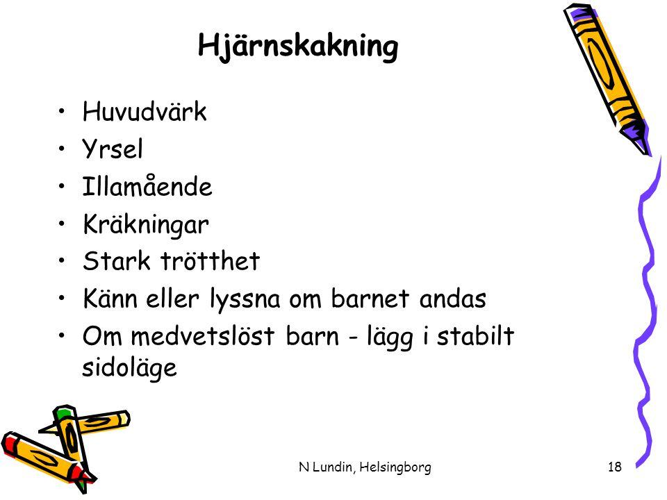 N Lundin, Helsingborg18 Hjärnskakning •Huvudvärk •Yrsel •Illamående •Kräkningar •Stark trötthet •Känn eller lyssna om barnet andas •Om medvetslöst barn - lägg i stabilt sidoläge