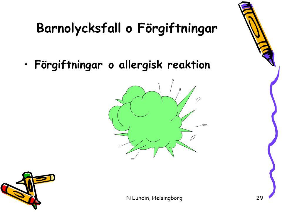 N Lundin, Helsingborg29 Barnolycksfall o Förgiftningar •Förgiftningar o allergisk reaktion