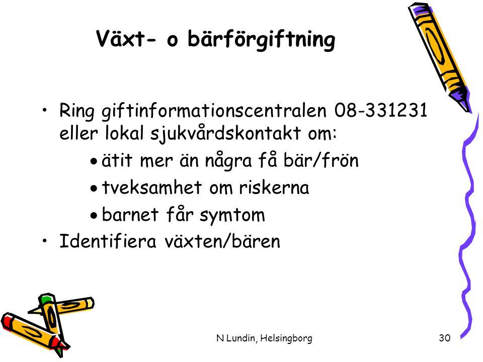 N Lundin, Helsingborg30 Växt- o bärförgiftning •Ring giftinformationscentralen 08-331231 eller lokal sjukvårdskontakt om:  ätit mer än några få bär/frön  tveksamhet om riskerna  barnet får symtom •Identifiera växten/bären