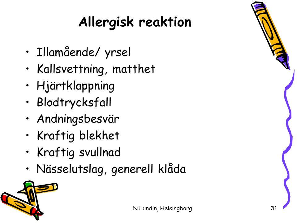 N Lundin, Helsingborg31 Allergisk reaktion •Illamående/ yrsel •Kallsvettning, matthet •Hjärtklappning •Blodtrycksfall •Andningsbesvär •Kraftig blekhet •Kraftig svullnad •Nässelutslag, generell klåda