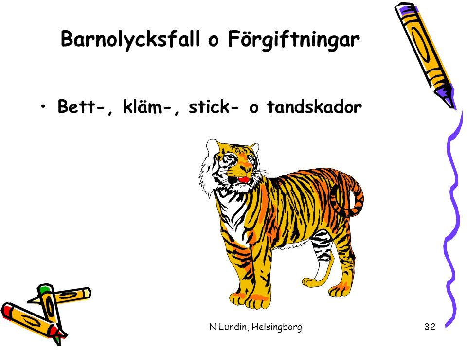 N Lundin, Helsingborg32 Barnolycksfall o Förgiftningar •Bett-, kläm-, stick- o tandskador