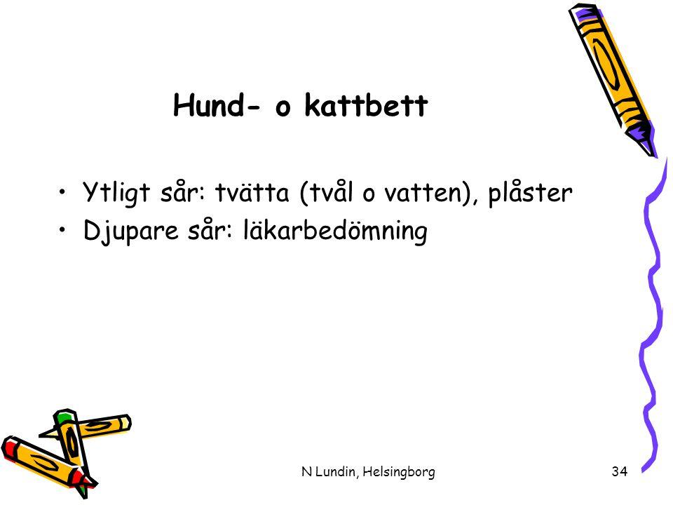 N Lundin, Helsingborg34 Hund- o kattbett •Ytligt sår: tvätta (tvål o vatten), plåster •Djupare sår: läkarbedömning