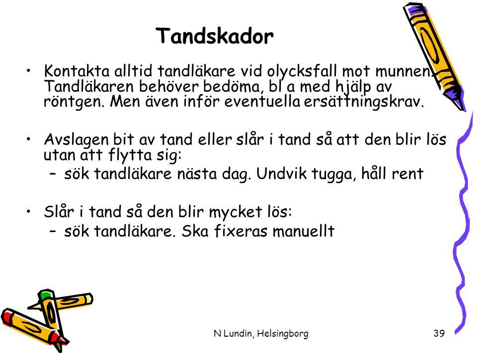 N Lundin, Helsingborg39 Tandskador •Kontakta alltid tandläkare vid olycksfall mot munnen.