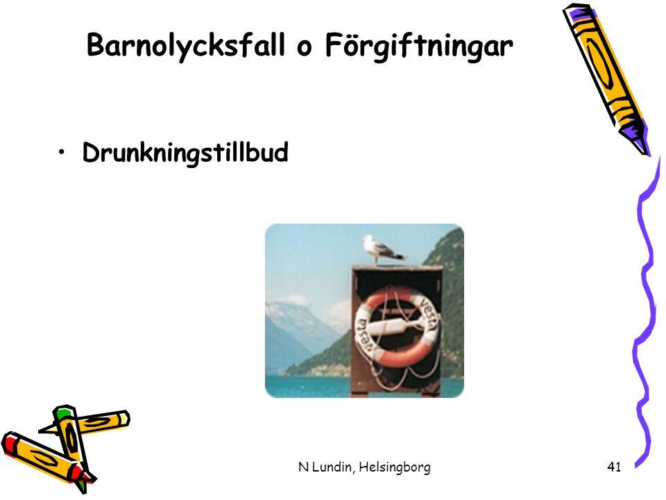 N Lundin, Helsingborg41 Barnolycksfall o Förgiftningar •Drunkningstillbud