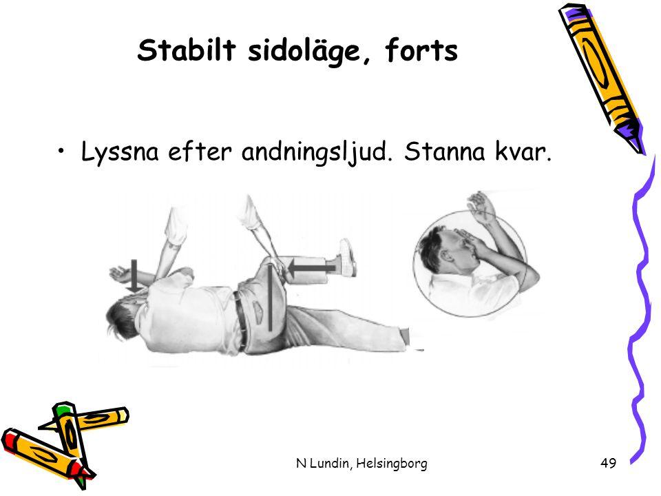 N Lundin, Helsingborg49 Stabilt sidoläge, forts •Lyssna efter andningsljud. Stanna kvar.