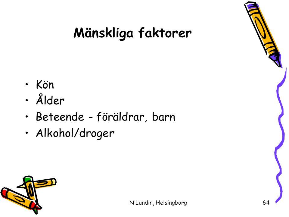 N Lundin, Helsingborg64 Mänskliga faktorer •Kön •Ålder •Beteende - föräldrar, barn •Alkohol/droger