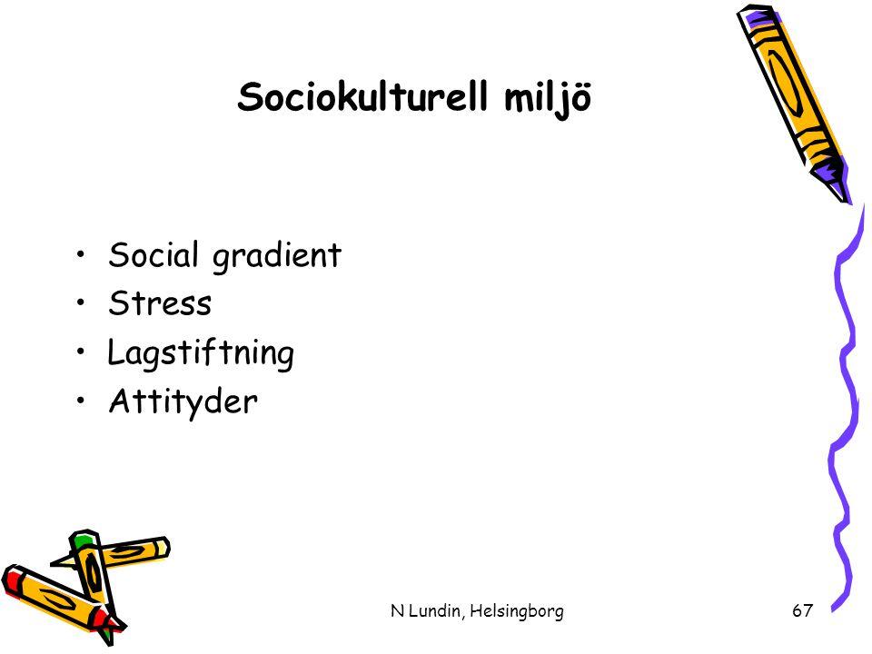 N Lundin, Helsingborg67 Sociokulturell miljö •Social gradient •Stress •Lagstiftning •Attityder