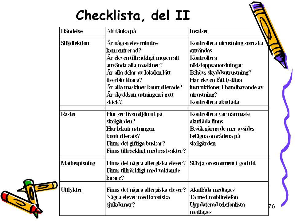 76 Checklista, del II