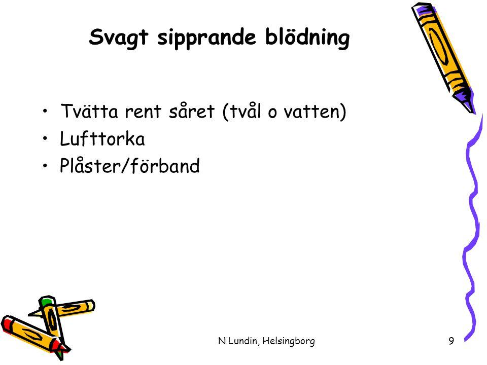 N Lundin, Helsingborg9 Svagt sipprande blödning •Tvätta rent såret (tvål o vatten) •Lufttorka •Plåster/förband