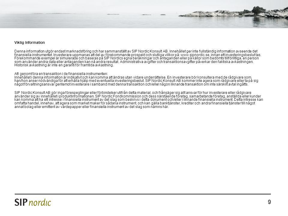 9 Viktig Information Denna information utgör endast marknadsföring och har sammanställt av SIP Nordic Konsult AB.