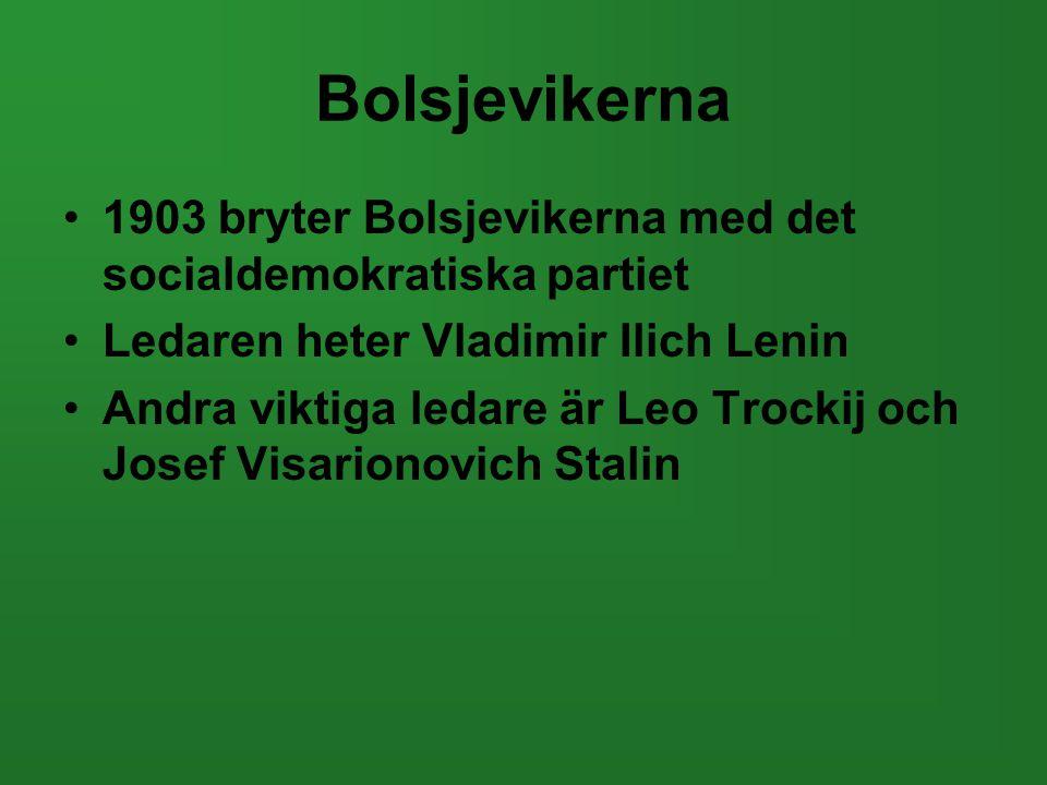 Bolsjevikerna •1903 bryter Bolsjevikerna med det socialdemokratiska partiet •Ledaren heter Vladimir Ilich Lenin •Andra viktiga ledare är Leo Trockij o