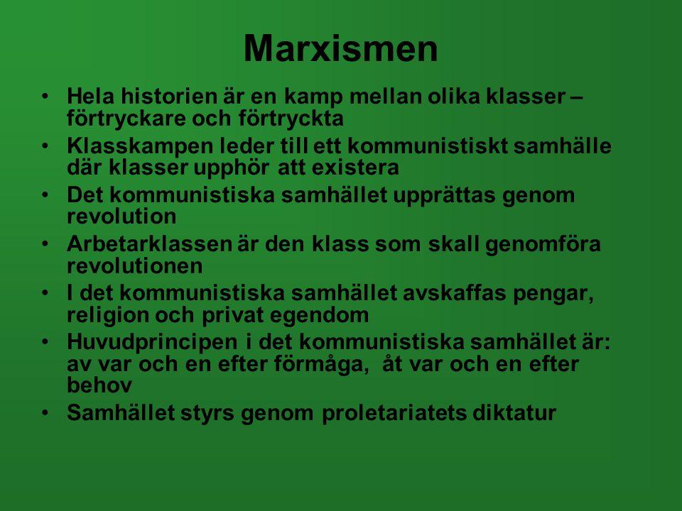 Marxismen •Hela historien är en kamp mellan olika klasser – förtryckare och förtryckta •Klasskampen leder till ett kommunistiskt samhälle där klasser
