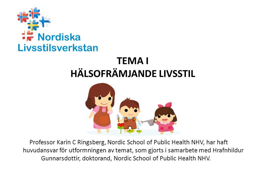 TEMA I HÄLSOFRÄMJANDE LIVSSTIL Professor Karin C Ringsberg, Nordic School of Public Health NHV, har haft huvudansvar för utformningen av temat, som gj