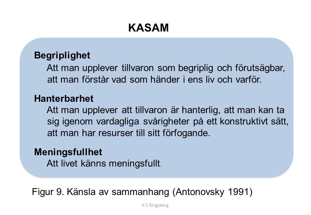 KASAM Figur 9. Känsla av sammanhang (Antonovsky 1991) K C Ringsberg Begriplighet Att man upplever tillvaron som begriplig och förutsägbar, att man för