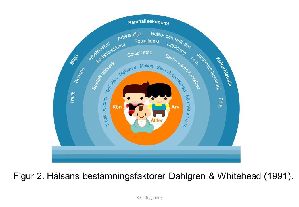 Figur 2. Hälsans bestämningsfaktorer Dahlgren & Whitehead (1991). K C Ringsberg
