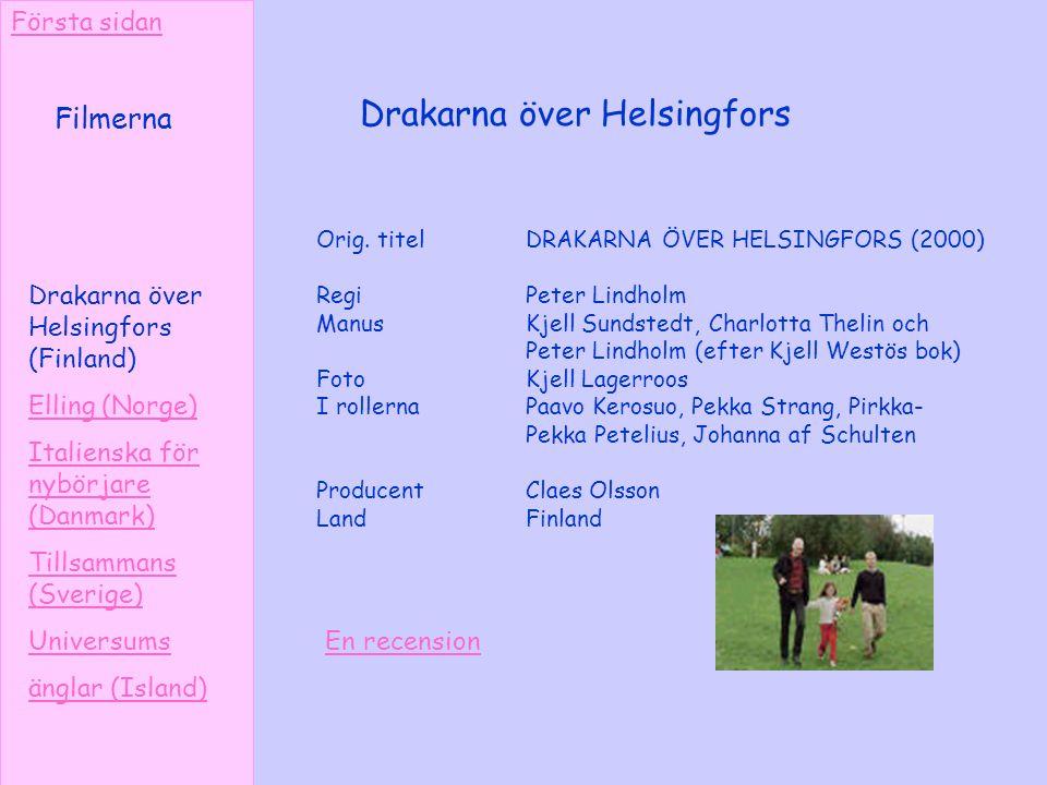 Drakarna över Helsingfors Orig. titel DRAKARNA ÖVER HELSINGFORS (2000) RegiPeter Lindholm Manus Kjell Sundstedt, Charlotta Thelin och Peter Lindholm (