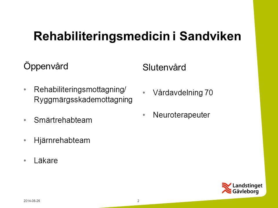 2014-06-252 Rehabiliteringsmedicin i Sandviken Öppenvård •Rehabiliteringsmottagning/ Ryggmärgsskademottagning •Smärtrehabteam •Hjärnrehabteam •Läkare