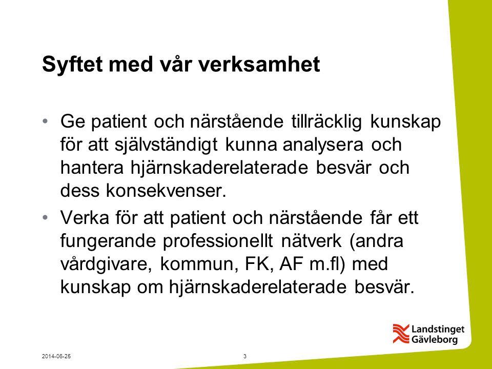 2014-06-253 Syftet med vår verksamhet •Ge patient och närstående tillräcklig kunskap för att självständigt kunna analysera och hantera hjärnskaderelat