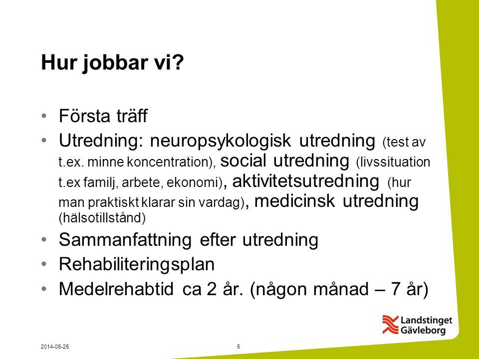 2014-06-255 Hur jobbar vi.•Första träff •Utredning: neuropsykologisk utredning (test av t.ex.