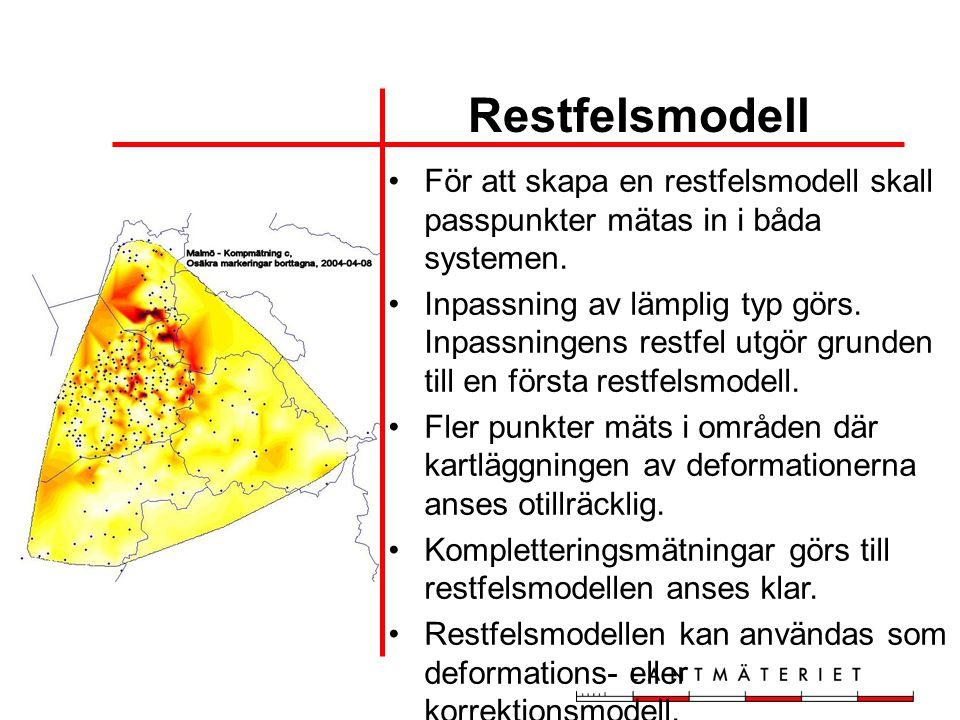 Restfelsmodell •För att skapa en restfelsmodell skall passpunkter mätas in i båda systemen. •Inpassning av lämplig typ görs. Inpassningens restfel utg