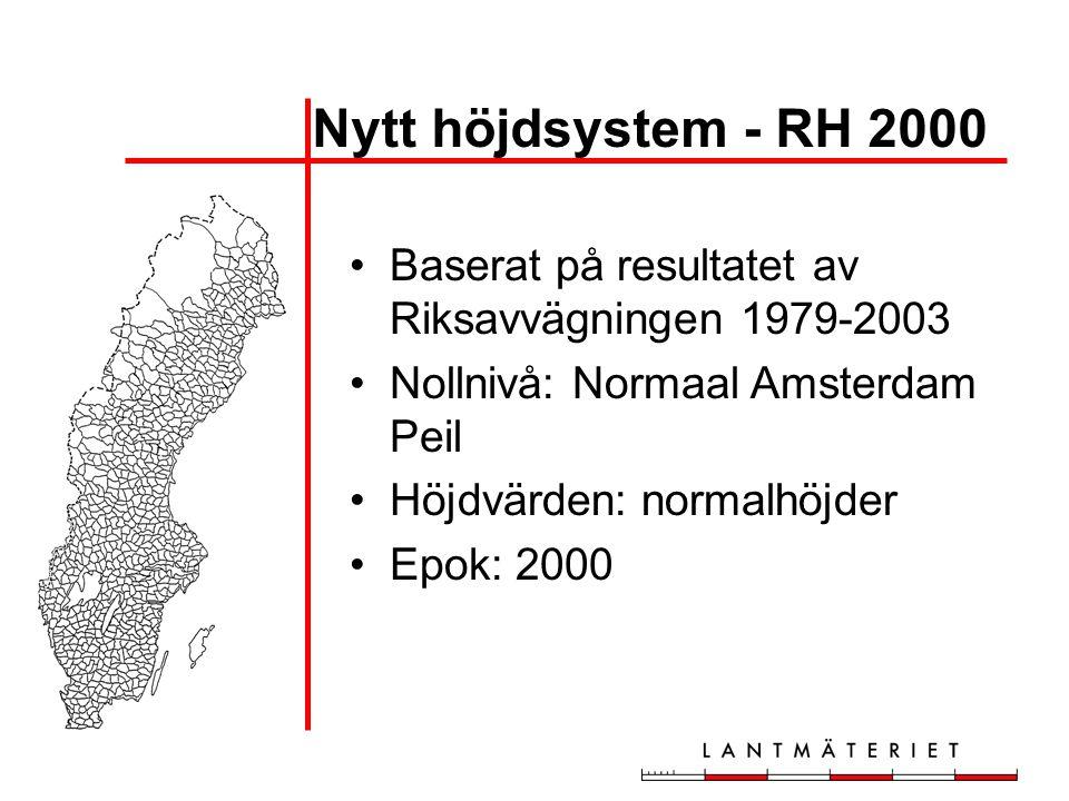 Nytt höjdsystem - RH 2000 •Baserat på resultatet av Riksavvägningen 1979-2003 •Nollnivå: Normaal Amsterdam Peil •Höjdvärden: normalhöjder •Epok: 2000