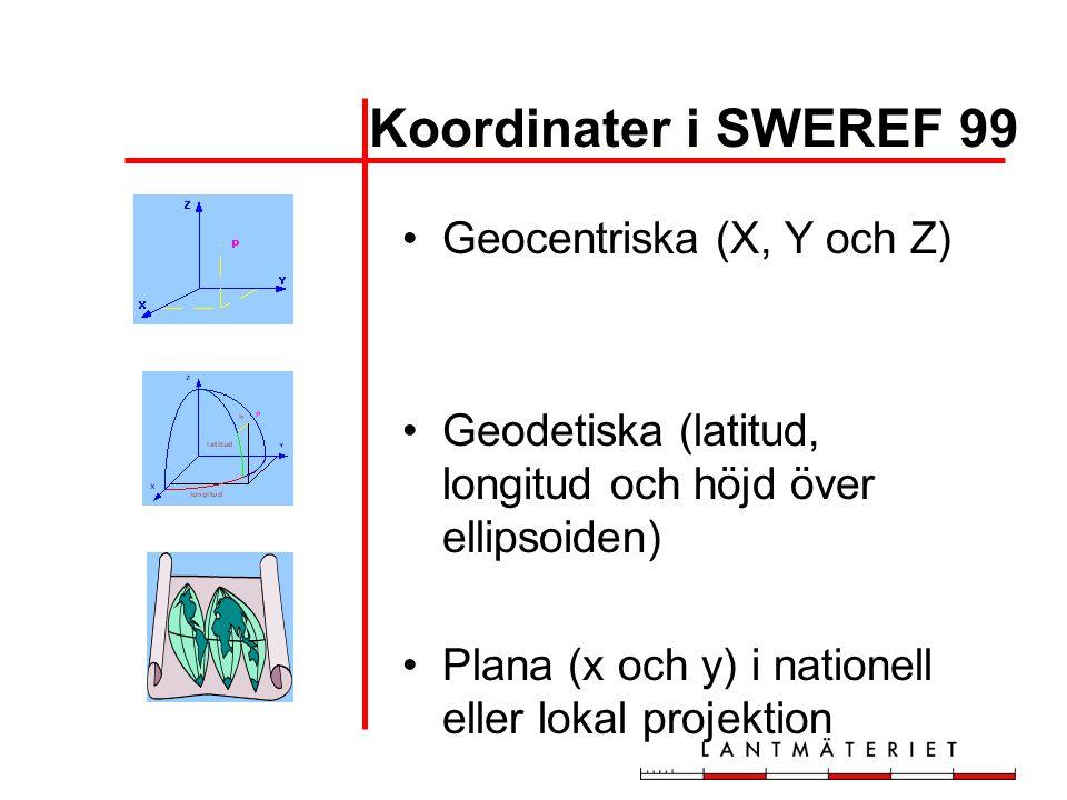 Koordinater i SWEREF 99 •Geocentriska (X, Y och Z) •Geodetiska (latitud, longitud och höjd över ellipsoiden) •Plana (x och y) i nationell eller lokal