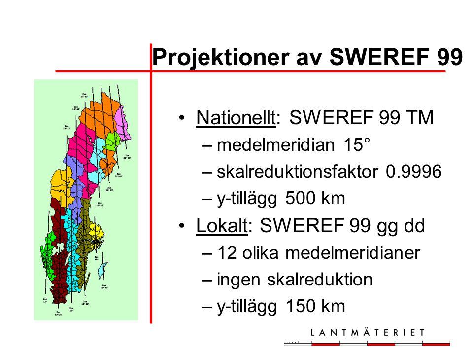 Projektioner av SWEREF 99 •Nationellt: SWEREF 99 TM –medelmeridian 15° –skalreduktionsfaktor 0.9996 –y-tillägg 500 km •Lokalt: SWEREF 99 gg dd –12 oli