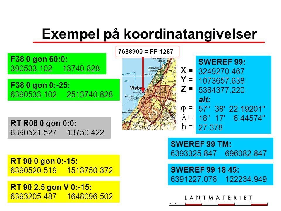 Införande av SWEREF 99 •LMV räknar med att införa SWEREF 99 för sina kartor och databaser 2007-01-01 •Kommuner och övriga bör börja planera för införande av SWEREF 99 •LMV kan ge metodstöd RT 90 SWEREF 99