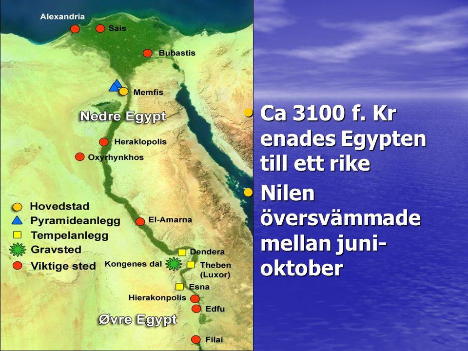 HORUS • Horus son till Osiris och Isis • Han har falkhuvud för han flyger som en falk över Egypten för att skydda sin far • När han besegrade sin fars mördare guden Seth blev han kung över hela Egypten.