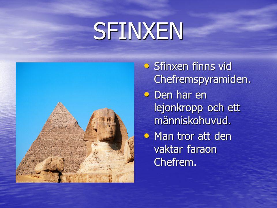 SFINXEN • Sfinxen finns vid Chefremspyramiden.• Den har en lejonkropp och ett människohuvud.
