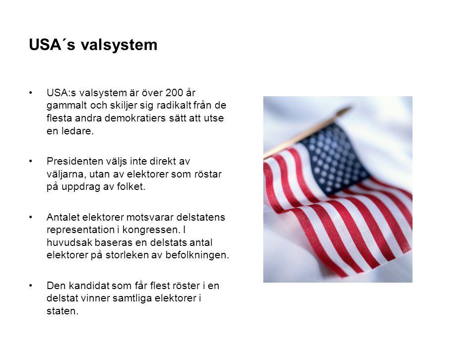 USA´s valsystem •USA:s valsystem är över 200 år gammalt och skiljer sig radikalt från de flesta andra demokratiers sätt att utse en ledare. •President